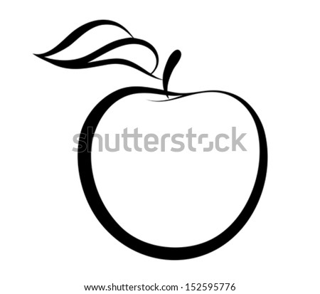 Vector monochrome illustration of apple logo.  Many similarities to the author's profile - stock vector