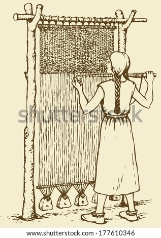 Vector monochrome illustration of ink. Woman weaves in ancient weaving machine - stock vector