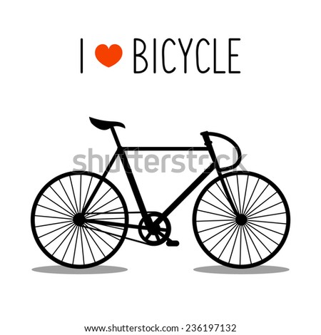 Vector monochrome illustration of urban hipster bicycle in trendy flat style with text I Love Bicycle - stock vector