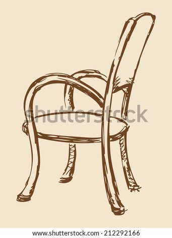 Vector monochrome line drawing sketches in the style of pen on paper. Wooden chair with armrests, chipped a soft cloth. Used in cafes and restaurants