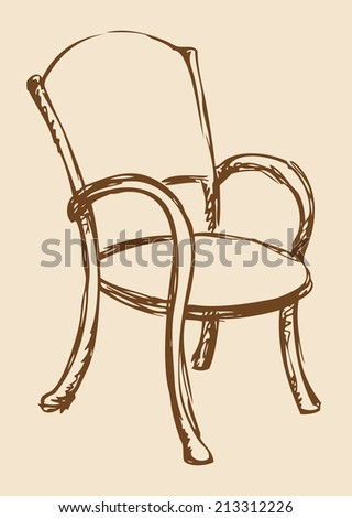 Vector monochrome line drawing sketches in the style of pen on paper. Wooden chair with armrests, chipped a soft cloth. Used in cafes and restaurants - stock vector