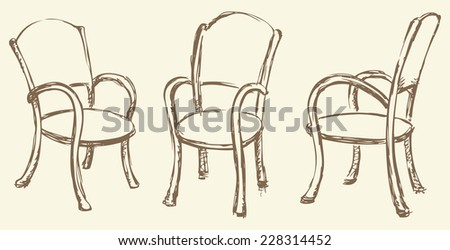 Vector monochrome line drawing sketches in the style of pen on paper. Wooden chairs with armrests, chipped a soft cloth from different angles isolated on white backdrop. Used in cafes and restaurants - stock vector