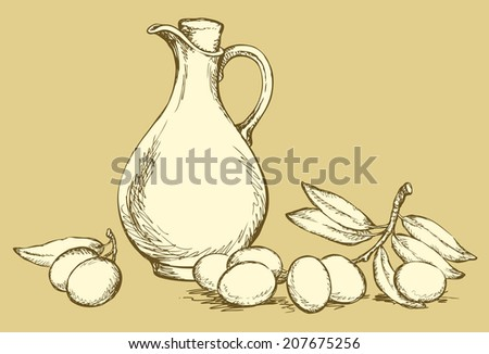 Vector monochrome line drawing style of antiquity engravings. Still life of corked jug with oliveoil and twig of ripe olives with leaves on olivaceous backdrop - stock vector