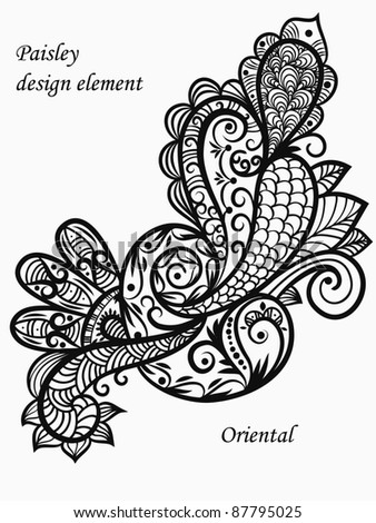 vector monochrome paisley design element - stock vector