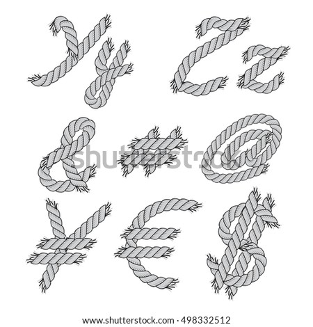 Vector Monochrome Rope Letters Symbols Isolated Stock Vector