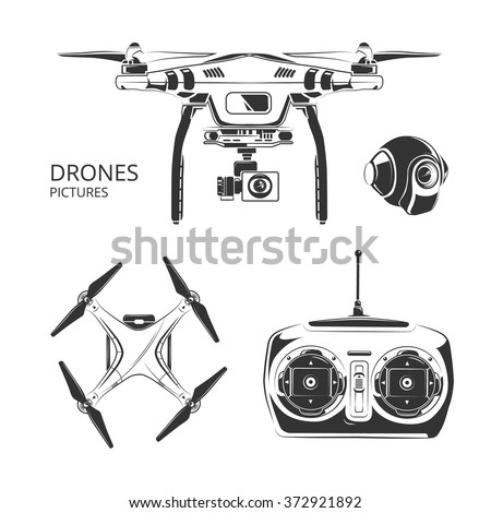 Vector monochrome set of drones pictures for labels, badges and logos design - stock vector