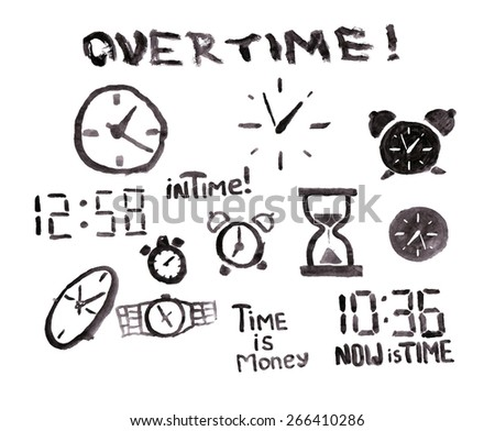 """Vector monochrome watercolor clock set with text """"overtime"""" - stock vector"""
