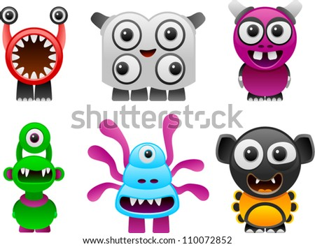 vector monsters collection 1 - stock vector