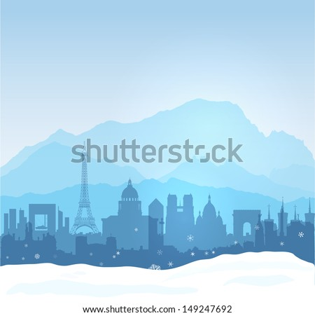 Vector Mont Blanc with Paris et Lyon silhouettes - stock vector