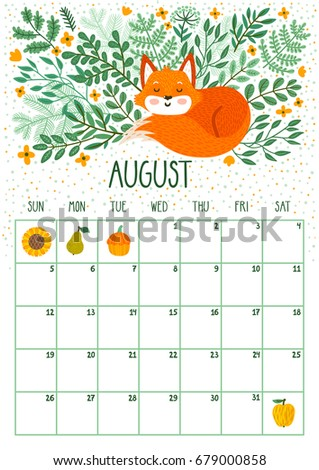 Vector Monthly Calendar Cute Sleeping Fox Stock Vector ...