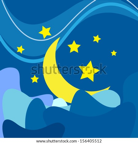 vector moon and star night background