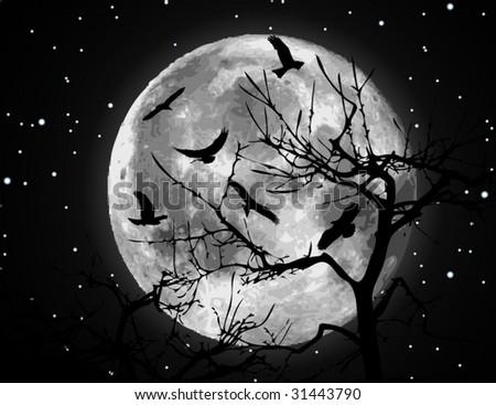 Vector moon illustration - stock vector