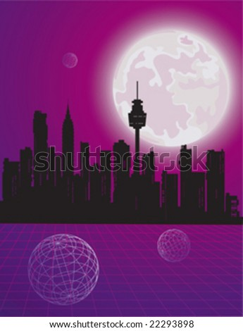 Vector moon in the sky against the backdrop of the city - stock vector