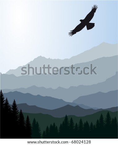 vector morning in beautiful mountains with eagle - stock vector