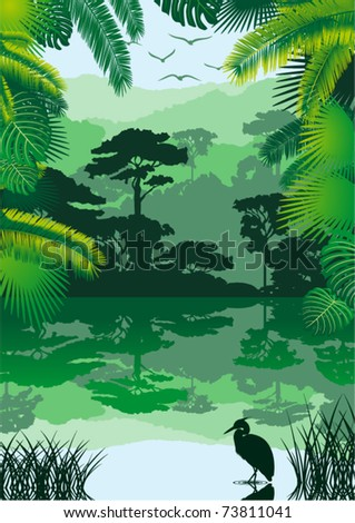 Vector Morning in Jungle Lake with Bird - stock vector