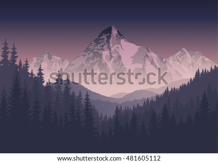 vector morning mountains landscape