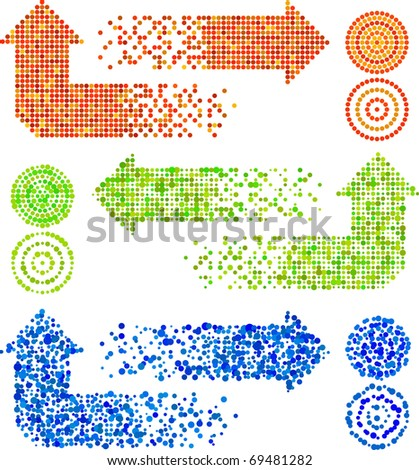 Vector mosaic arrow signs set in different techiques - stock vector