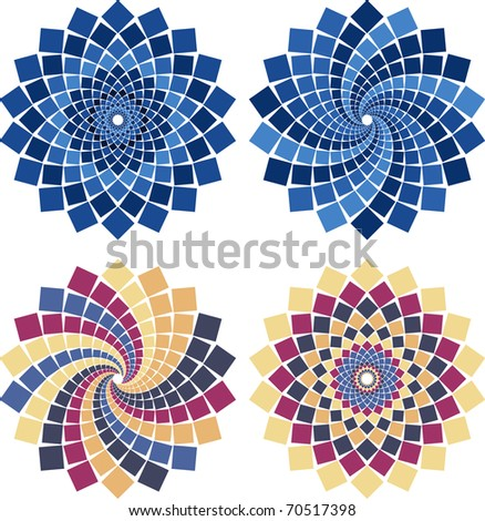 Vector mosaic flower in different colors and styles - stock vector