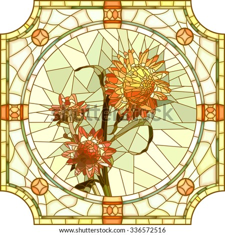 Vector mosaic of brightly orange immortelle with buds in round stained-glass window frame. - stock vector