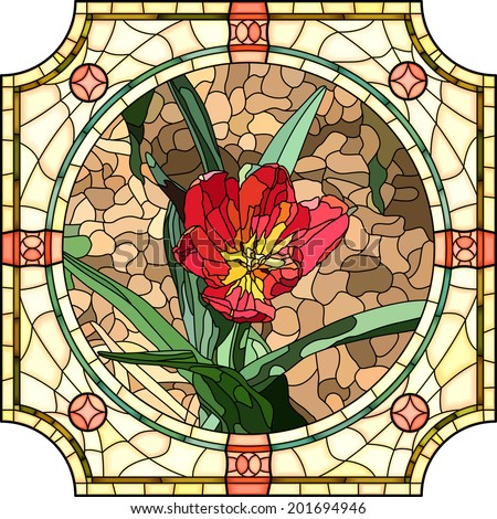 Vector mosaic of brightly red tulip in round stained-glass window frame. - stock vector