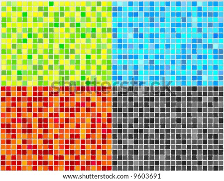 Vector Mosaic Tile - 4 colors. All elements are grouped in layers.