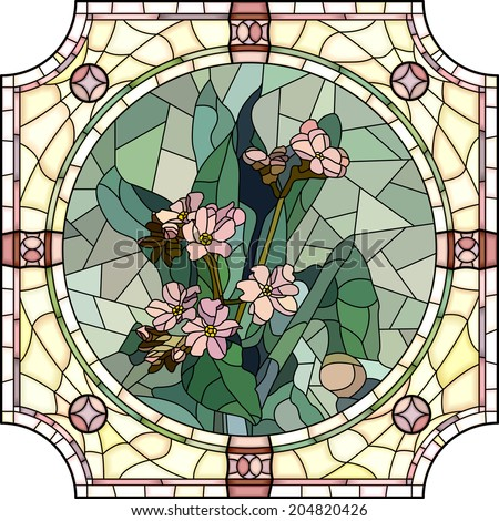 Vector mosaic with large cells of flowers forget-me-not with buds in round stained-glass window frame. - stock vector
