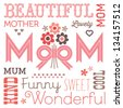 Vector Mothers Day card or Birthday card in pink and brown. Text design with vintage typography and retro style flower posy.  - stock photo