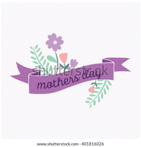 Vector Mothers Day card, with vintage ribbon - stock vector