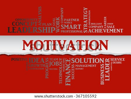 Vector MOTIVATION concept related words in tag cloud isolated on red background with different association business terms. The effect of torn paper, silver letters on a red background  - stock vector