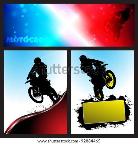 Vector motocross Collection background. Clip-art - stock vector