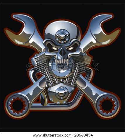 Vector motorhead hi-detailed illustration. EPS-8 separated by groups and layers for easy edit. More vector skulls and wrenchs see in my portfolio. - stock vector