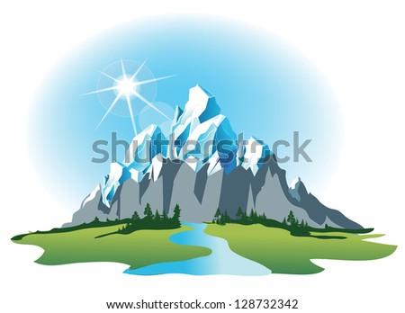 Vector mountain - stock vector