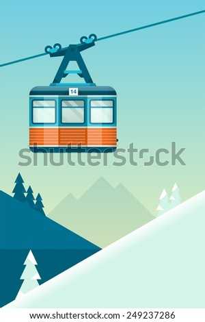 vector mountain  background with cable car - stock vector