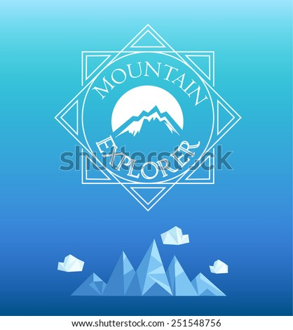 Vector mountain emblem in outline style. Geometric crystal mountain and clouds in polygon style.   - stock vector
