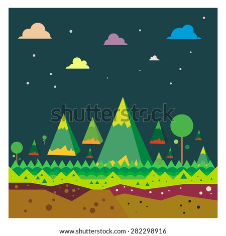 Vector Mountain landscape Forest Tourism on blue background - stock vector