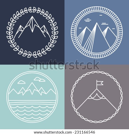 Vector mountain logos and emblems in outline style - abstract design elements and round badges - stock vector