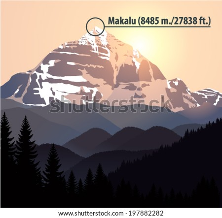 Vector mountain Makalu the fifth highest mountain in the world. Nepal, Himalayas - stock vector
