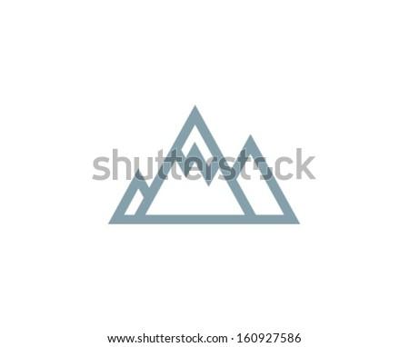 Vector Mountains Icon Symbol - stock vector
