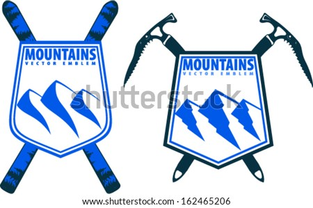 Vector mountains ski and climber emblems on shields - stock vector