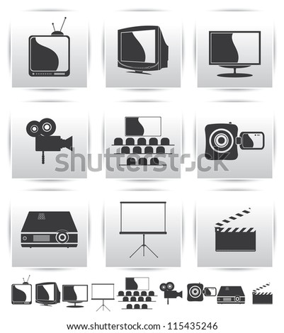 Vector Movie icons. Film and projector screen icons - stock vector