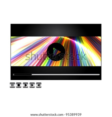 Vector movie/music player with buttons. - stock vector