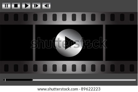 Vector movie player interface with film strip and metal buttons - stock vector
