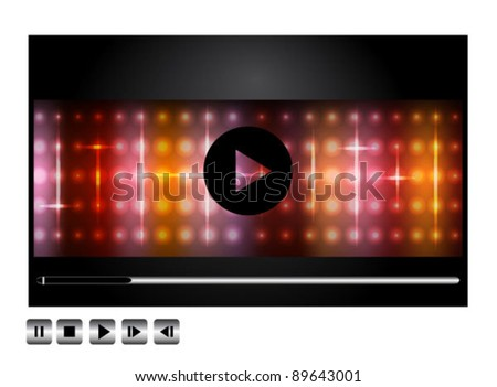 Vector movie player interface with shiny lights on black - stock vector