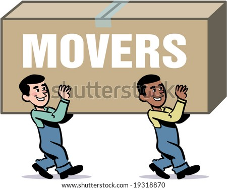 vector moving men carrying a big box - stock vector