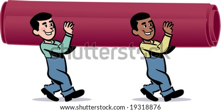 vector moving men carrying carpet - stock vector