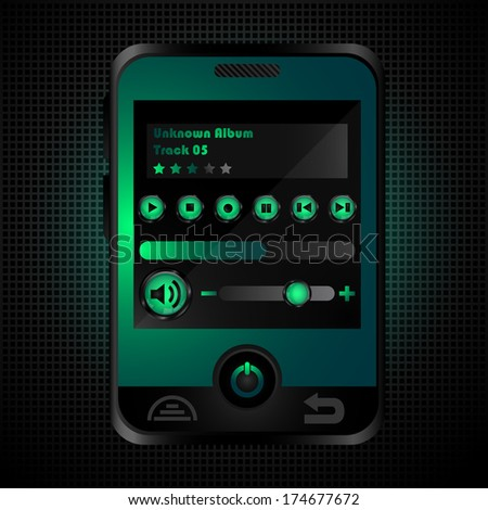 Vector MP3 player with audio player, colored music player with buttons - stock vector