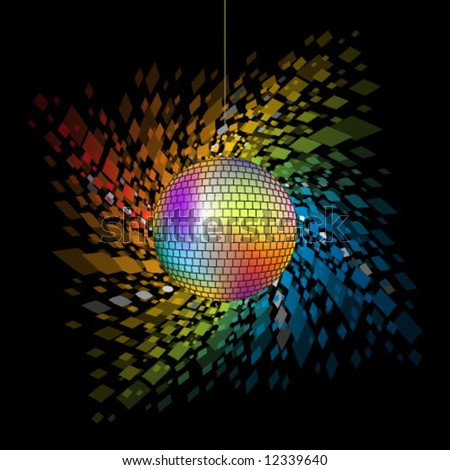 Vector. Multi-colored disco ball with rainbow of glittery sparkles. - stock vector