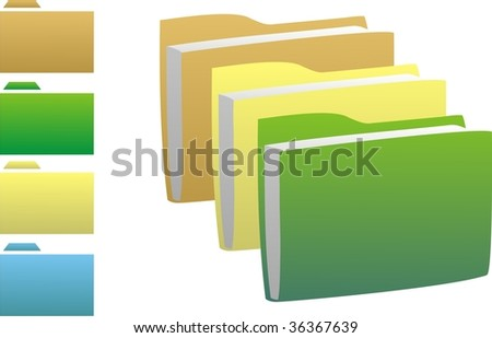 Vector Multi-coloured icons in the form of folders for documents - stock vector