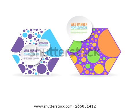 Vector Multicolor Ellipse Elements Hexagon Frame Flat Web Banner Template Set - stock vector