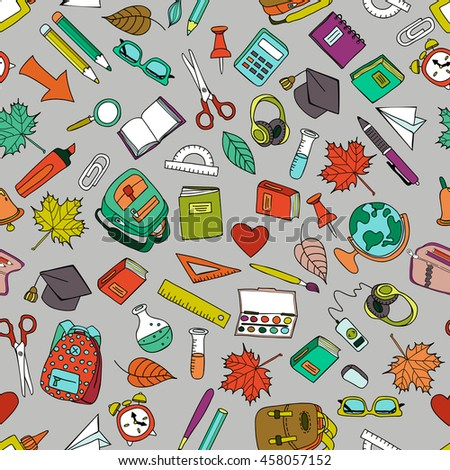 Vector multicolor seamless pattern with doodle school tools. Hand drawn school icons set. Design for fashion print, wrapping, web backgrounds, school or education theme. - stock vector